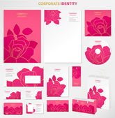 Business style (template) with pink floral pattern