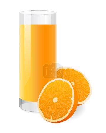Illustration pour Isolé Jus d'orange frais en verre avec la moitié de l'orange. Illustration vectorielle sur fond blanc - image libre de droit