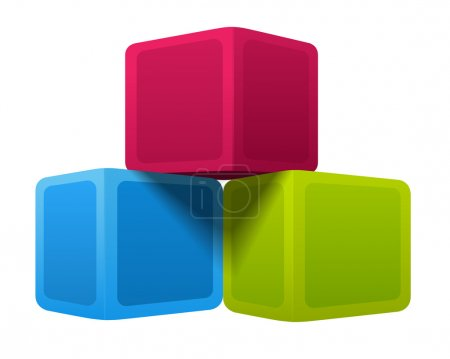 Illustration for Isolated colorful 3d shape cubes. Pyramid. Vector illustration on white background - Royalty Free Image