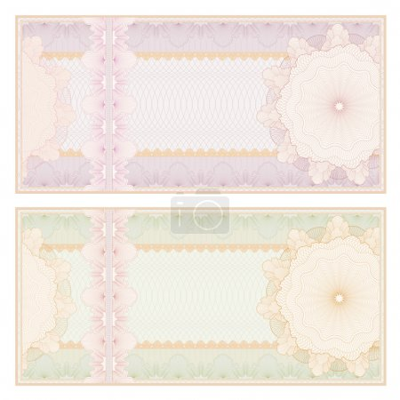 Voucher template with guilloche pattern (watermarks) and border. This background design usable for gift voucher, coupon, banknote, certificate, diploma, currency, check (cheque). Vintage Vector