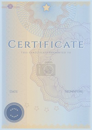 Blue certificate of completion (template). Guilloche pattern