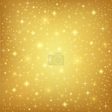 Photo for Abstract golden background with sparkling twinkling stars. Gold Cosmic atmosphere illustration - Royalty Free Image