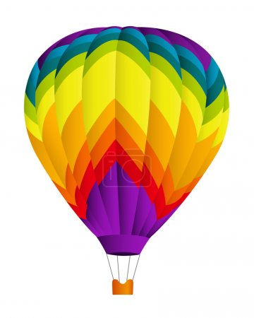 Illustration for Isolated colorful (rainbow) Hot air balloon. Vector illustration on white background - Royalty Free Image
