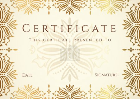 Horizontal certificate (diploma) of completion (template) with golden floral pattern