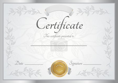 Horizontal silver certificate (diploma) of completion (template) with floral pattern and frame