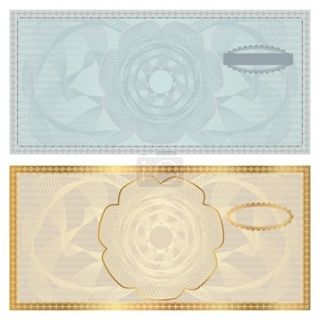 Voucher template with guilloche pattern (watermark...