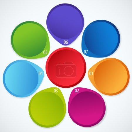 Illustration pour Illustration vectorielle conceptuelle de bannières circulaires colorées avec des flèches et un emplacement pour votre texte. Utile pour la conception de bannières, le concept d'entreprise, le site Web ou la publicité Web - image libre de droit