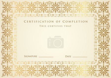 Horizontal certificate of completion (template) wi...