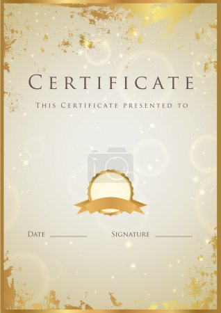 Illustration for Vertical beige certificate of completion (template) with golden grunge border. This background design usable for diploma, invitation, gift voucher, coupon, official or different awards. Vector illustration - Royalty Free Image