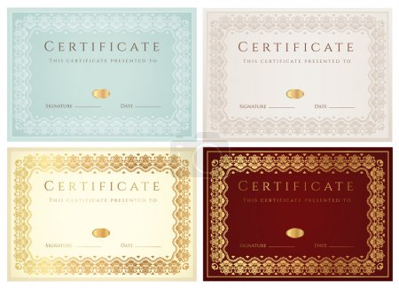 Set of Horizontal certificate (diploma) of completion (template) with golden floral pattern and border