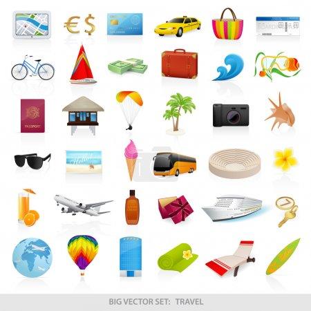 Illustration pour Grand ensemble vectoriel : voyage (icônes) - illustrations détaillées. Symboles de plage isolés (objets). Des trucs d'été pour les vacances (vacances). Objets pour se détendre, s'amuser et voyager - image libre de droit