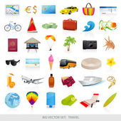 Big vector set: travel (icons) Isolated Beach symbols (objects) for vacation (holidays) Enjoy the journey
