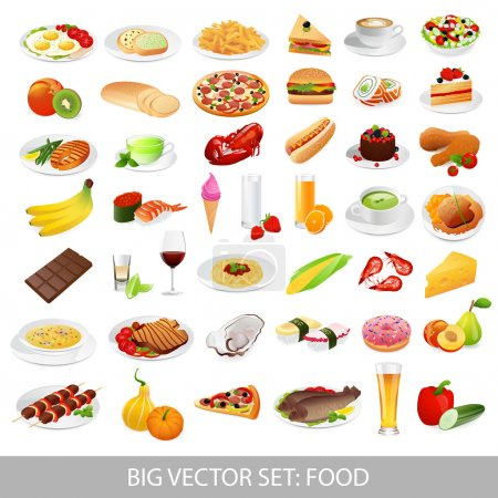 Illustration for Big vector set: food icons (various delicious dishes). Traditional cuisine. Main course of different countries. Healthy food , junk food , seafood, fast food, drinks. Isolated detailed meals illustrations on white background - Royalty Free Image