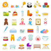 Big Vector set: Baby icons (newborn) Isolated on white background baby stuff (clothes food toys books etc) Vector detailed illustrations