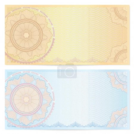 Voucher template with guilloche pattern (watermarks) and border. This background design usable for gift voucher, coupon, banknote, certificate, diploma, check (cheque), currency etc. Vector