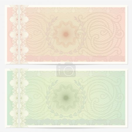 Voucher template with guilloche pattern (watermarks) and border. Background design for gift voucher, coupon, banknote, certificate, diploma, check, cheque, currency. Vector in green and beige colors