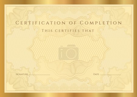 Certificate of completion (template) with guilloche pattern (watermarks) and border. Golden vector background