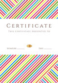 Vertical certificate of completion (template) with colorful stripy pattern and place for text This design usable for diploma invitation gift voucher coupon official ticket or different awards Vector