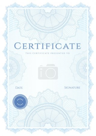 Vertical blue certificate of completion (template)...