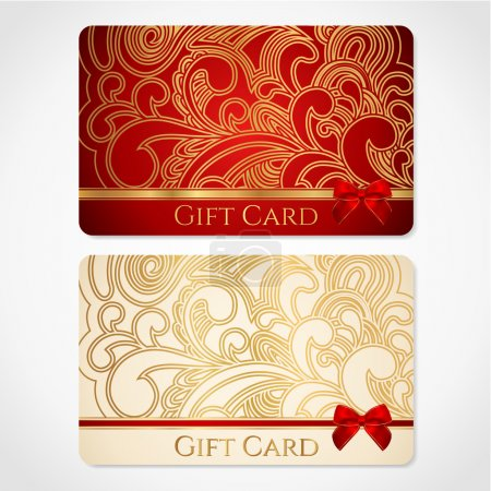 Red and gold gift card (discount card) with floral pattern and red bow (ribbons)