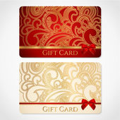 Red and gold gift card (discount card) with floral pattern and red bow (ribbons) This background design usable for gift coupon voucher invitation ticket etc Vector