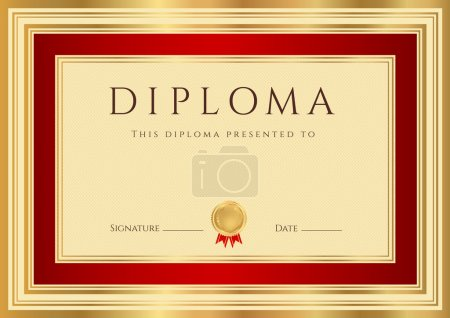 Illustration for Horizontal Diploma or Certificate (template) with guilloche pattern (watermarks), gold and red border. This background design usable for invitation, gift voucher, coupon, official or different awards. Vector of first place with golden medal - Royalty Free Image