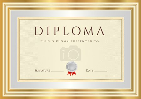 Horizontal Diploma or Certificate (template) with guilloche pattern (watermarks), silver and gold border