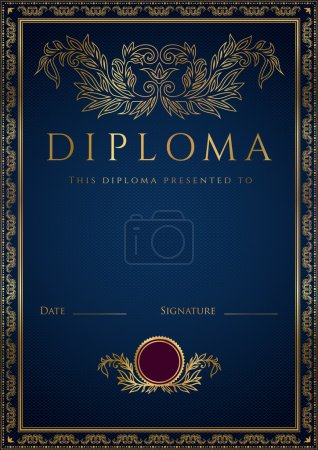 Vertical dark blue diploma (certificate) of completion (template) with guilloche pattern (watermarks) and golden floral border