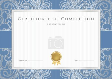 Illustration for Horizontal certificate of completion (template) with floral pattern (watermarks), blue border and gold medal (insignia). This background design usable for diploma, invitation, gift voucher, coupon, official or different awards. Vector - Royalty Free Image