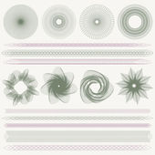 Set (collection) of colorful watermarks and borders Guilloche pattern (line elements) for money design voucher currency gift certificate coupon banknote diploma check cheque note
