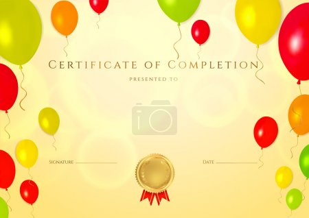 Horizontal golden Certificate of completion (template) with bright with colorful balloons background (for children). Background usable for diploma, invitation, gift voucher or different awards. Vector