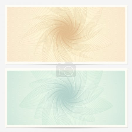 Gift certificate (Voucher) template with guilloche pattern (watermarks) and border. Background for coupon, banknote, money design, currency, note, check, cheque etc. Vector in vintage colors