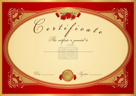 Red Certificate of completion (template or sample background) with flower pattern (rose), golden vintage border. Design for diploma, invitation, gift voucher, ticket or awards (winner). Vector