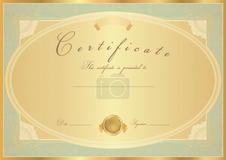 Certificate of completion (template or sample background) with flower pattern, golden vintage border. Design for diploma, invitation, gift voucher, official, ticket or awards (winner). Vector