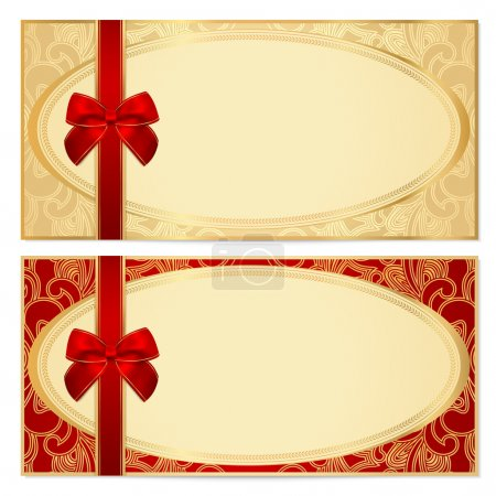 Voucher, Gift certificate, Coupon template with border, frame, bow (ribbons). Background design for invitation, banknote, diploma, money design, currency, check. Vector in gold, red (maroon) colors