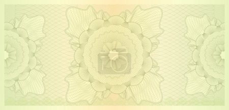 Gift certificate, Voucher, Coupon template (layout). Guilloche pattern (watermarks), border. Background for banknote, money design, currency, cheque, note, check, ticket, reward. Green color. Vector