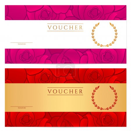 Voucher (Gift certificate, Coupon) template with floral pattern, red rose, stylized flower. Background design for invitation, banknote, cheque (check), currency. Vector in gold, red colors