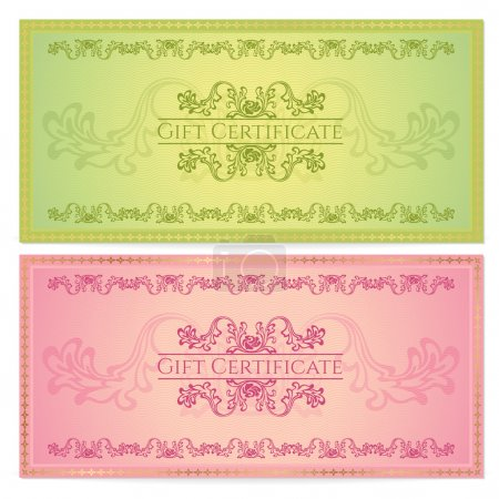 Gift certificate, Voucher, Coupon template (layout) with floral pattern (watermark), border. Background for invitation, banknote, cheque (check), money design, currency. Green, red color. Vector