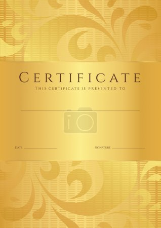 Certificate of completion (template or sample background) with golden floral pattern (swirl, scroll shape). Gold Design for diploma, invitation, gift voucher, ticket, awards. Vector