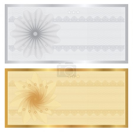 Gift certificate, Voucher, Coupon template with guilloche pattern (watermarks), border. Background for banknote, money design, currency, note, check (cheque), ticket, reward. Cold, silver vector