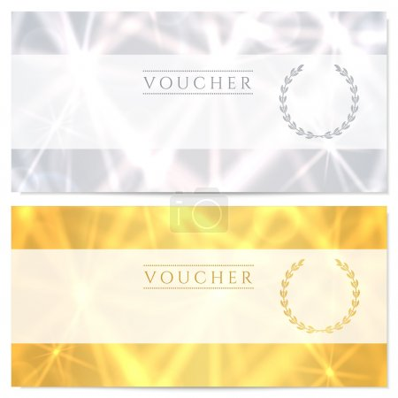 Gift certificate, Voucher, Coupon template (layout) with abstract pattern, sparkling, twinkling stars. Background design for invitation, banknote, cheque (check), currency, banner. Gold, silver