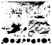 Black scratched, crumpled background (splashing, blob, spatter, spots, splat, blotch, splash). Isolated stain. Grunge texture with paint stains, dirty. Silhouette of splotches. Vector