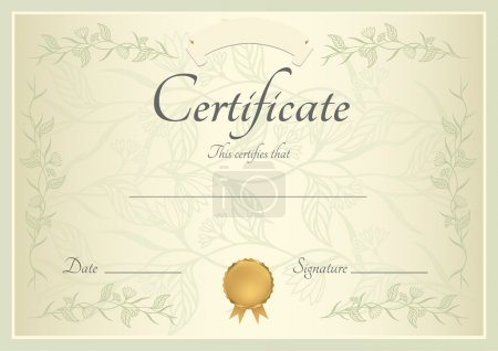 Illustration for Also useful for: Degree certificate, Business Education (Courses), Certificate of Achievement, Competitions, Certificate of Authenticity, Graduation Certificate, Sport certificate, Certificate of Honor, School awards, Music (Language) lessons - Royalty Free Image