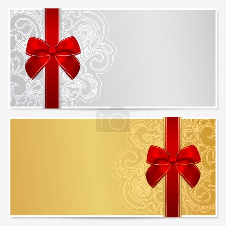 Voucher, Gift certificate, Coupon template with border, frame, bow (ribbons). Background design for invitation, banknote, money design, currency, check (cheque). Vector in gold, silver colors