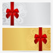 Voucher Gift certificate Coupon template with border frame bow (ribbons) Background design for invitation banknote money design currency check (cheque) Vector in gold silver colors