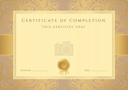 Certificate, Diploma of completion (design template, background) with floral pattern, gold border (frame), insignia. Useful for: Certificate of Achievement, Certificate of education, awards