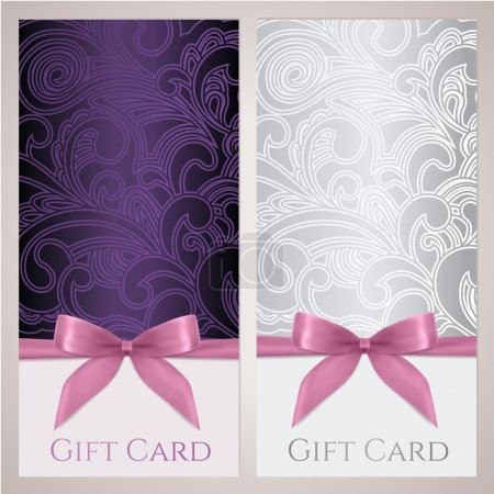 Gift certificate, gift card, Voucher, Coupon template with floral (scroll, swirl) pattern, bow (ribbons, present). Background design for invitation, ticket, banner. Vector in violet, silver colors