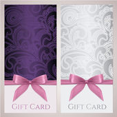 Gift certificate gift card Voucher Coupon template with floral (scroll swirl) pattern bow (ribbons present) Background design for invitation ticket banner Vector in violet silver colors