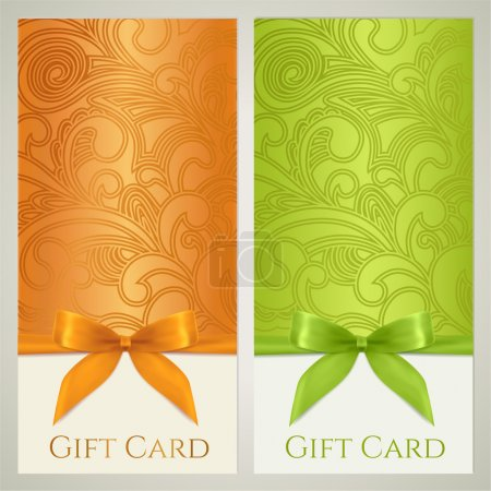 Gift certificate, gift card, Voucher, Coupon template with floral (scroll, swirl) pattern, bow (ribbons, present). Background design for invitation, ticket, banner. Vector in orange, green colors