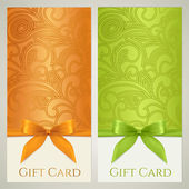Gift certificate gift card Voucher Coupon template with floral (scroll swirl) pattern bow (ribbons present) Background design for invitation ticket banner Vector in orange green colors